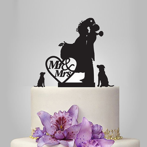 Свадьба - silhouette wedding Cake topper, custom name cake topper, Vintage cake topper, Personalized Wedding Cake, just married cake topper