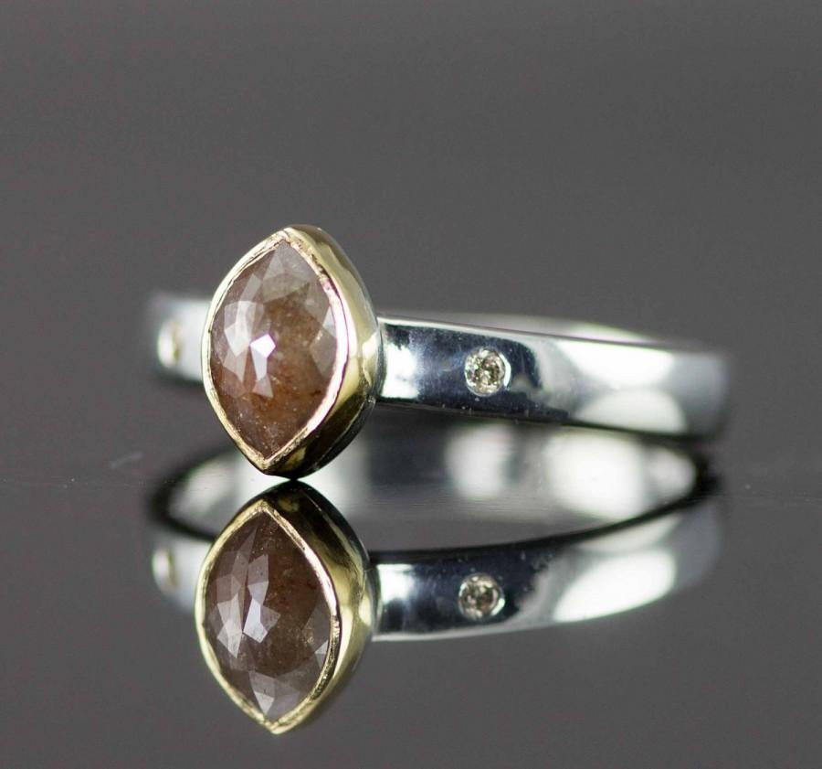 Mariage - Rose Cut Diamond Engagement Ring - Raw Natural Marquis  Brown Diamond in 22k Gold and Sterling
