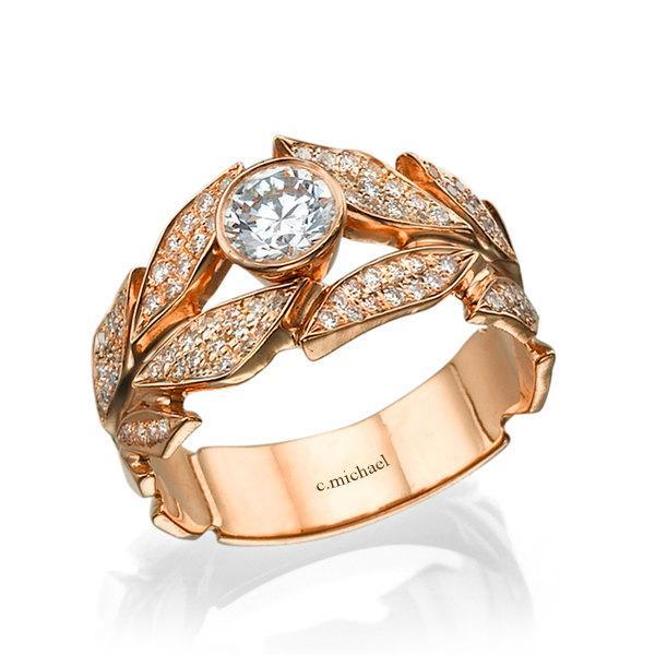 Mariage - Diamond Ring,  Engagement Ring, Rose Gold Ring,  Wedding Ring, Leaf Ring, Leaves engagement ring, band ring, 14K Ring, Pink Gold Ring, 18K