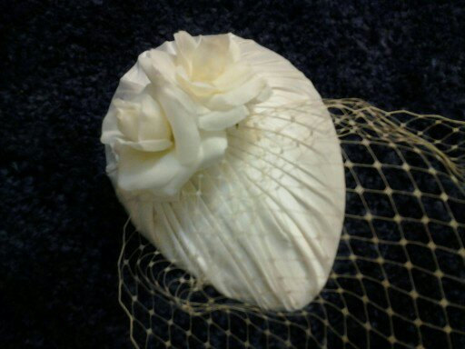 Mariage - Vintage Inspired Bridal Ivory Silk Pleated Teardrop Fascinator with silk rose, Birdcage Veiling, bridal headpiece, bridal hat, Wedding hat,