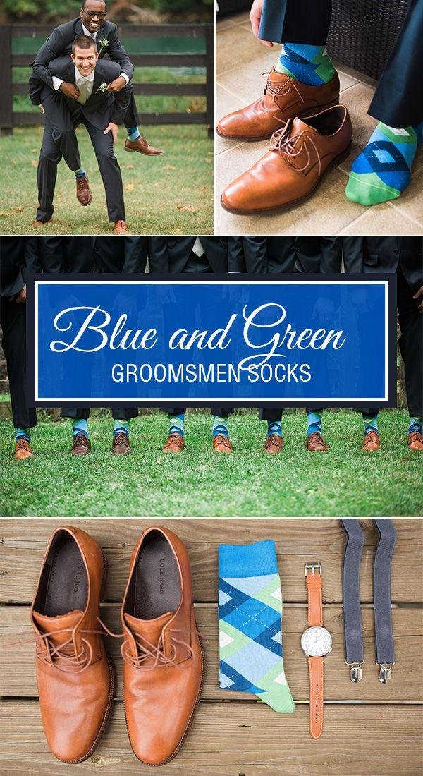 Wedding - Blues Green Argyle Men's Dress Socks - Statement Sockwear