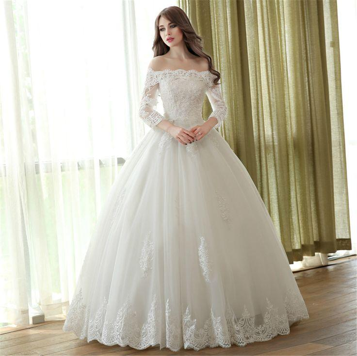 Boat Neck 3 4 Sleeve Princess Wedding Dress 2513463