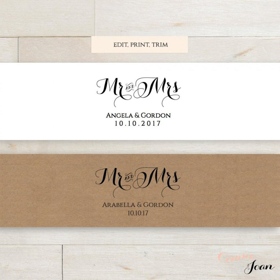 invitation belly band printable template wedding belly band mr and mrs diy editable printable belly band byron edit print trim - Wedding Invitation Belly Band