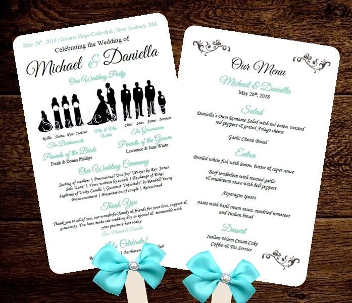 silhouette wedding program template fan menu diy choose