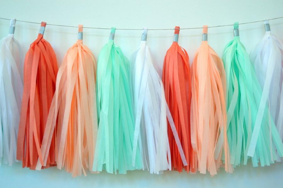 Свадьба - Coral and Mint Tassel Garland - Spring Tassel Garland - Coral and Mint Fringe Garland