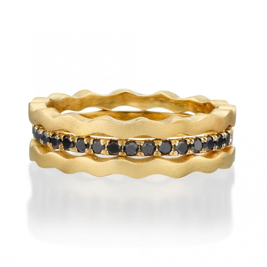 Mariage - Black Diamonds rings, Black Diamonds, 14k Gold Ring, Diamond Ring, yellow gold ring, Stack Rings, Designed gold Ring, bridal jewelry, rings