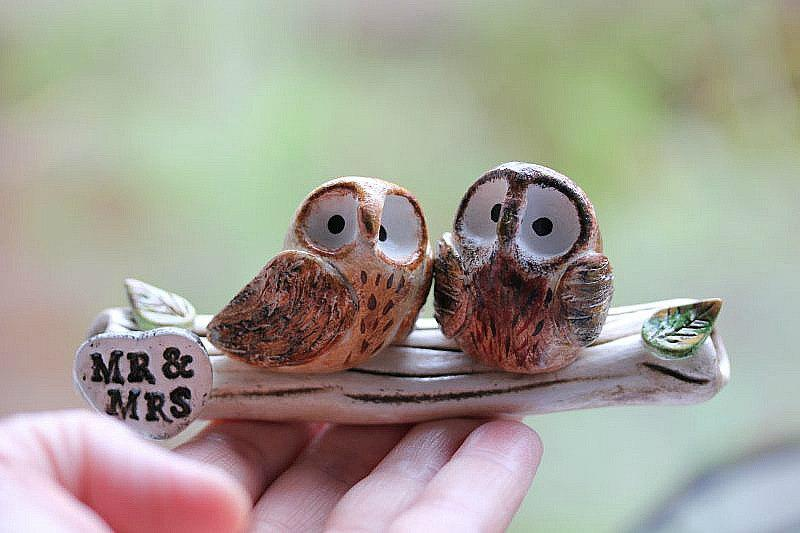 Свадьба - Clay Owls - Owl cake topper - Clay Owls - Made To Order - Owls Wedding cake topper - Woodland Wedding -CUSTOMIZED for You
