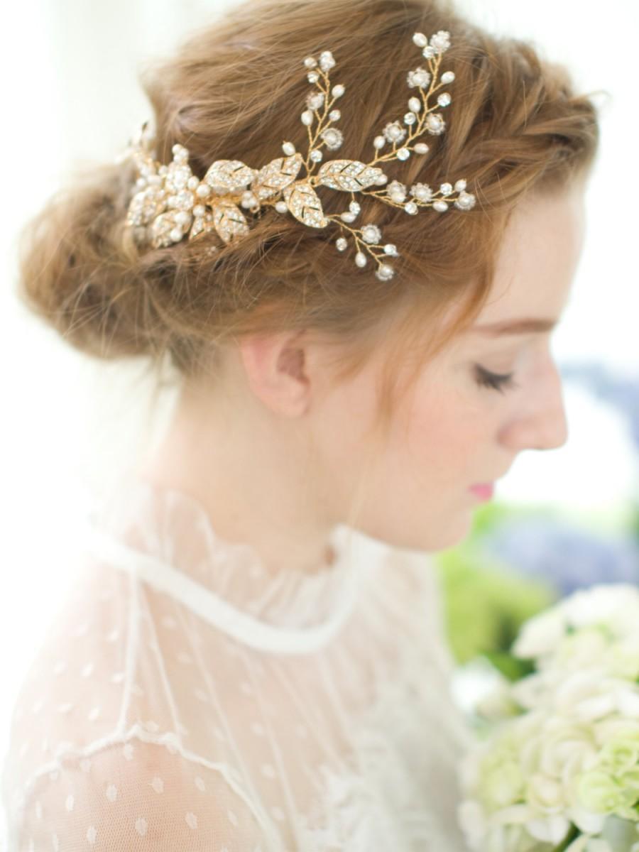 gold bridal comb wedding comb vintage comb flower comb gold wedding hair accessories bridal headpieces bridal comb