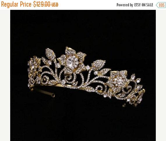 Mariage - BRIDAL SALE Vintage GOLD Rhinestone Tiara Crown