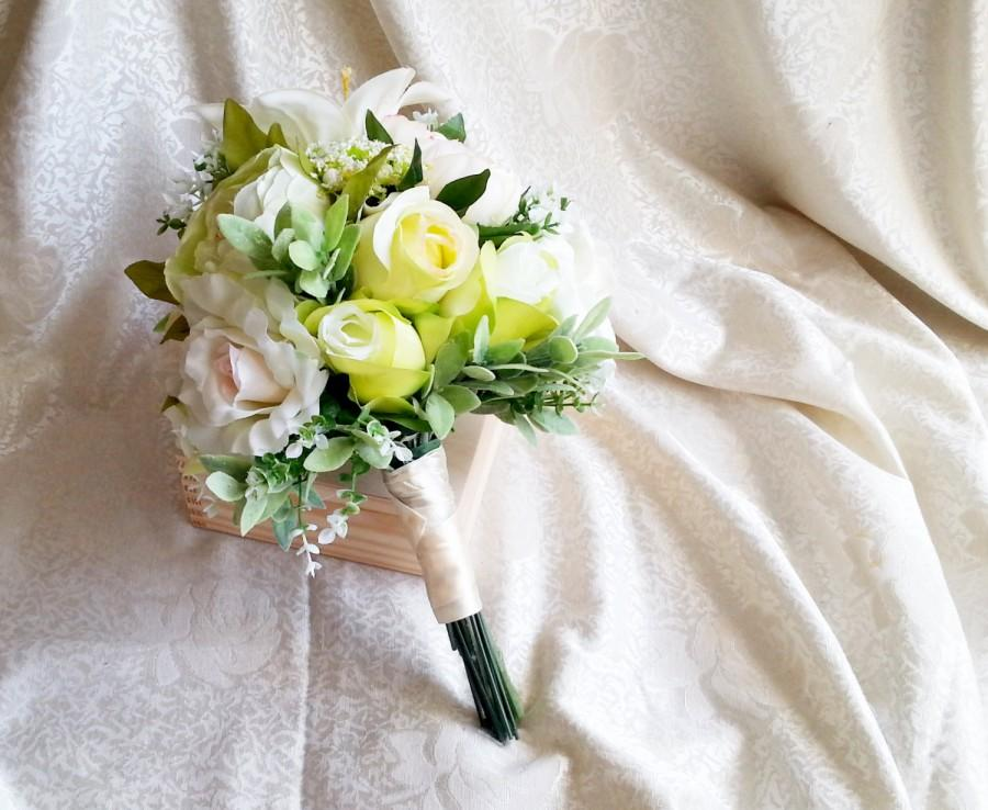 Best quality green and creme silk flowers peonies roses lily wedding best quality green and creme silk flowers peonies roses lily wedding big bouquet satin handle greenery natural mightylinksfo