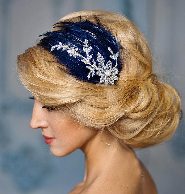 ca3da35ad8ab6 Blue Wedding fascinator, navy blue and silver lace feather headband,  Prom,Bridesmaids- Melody