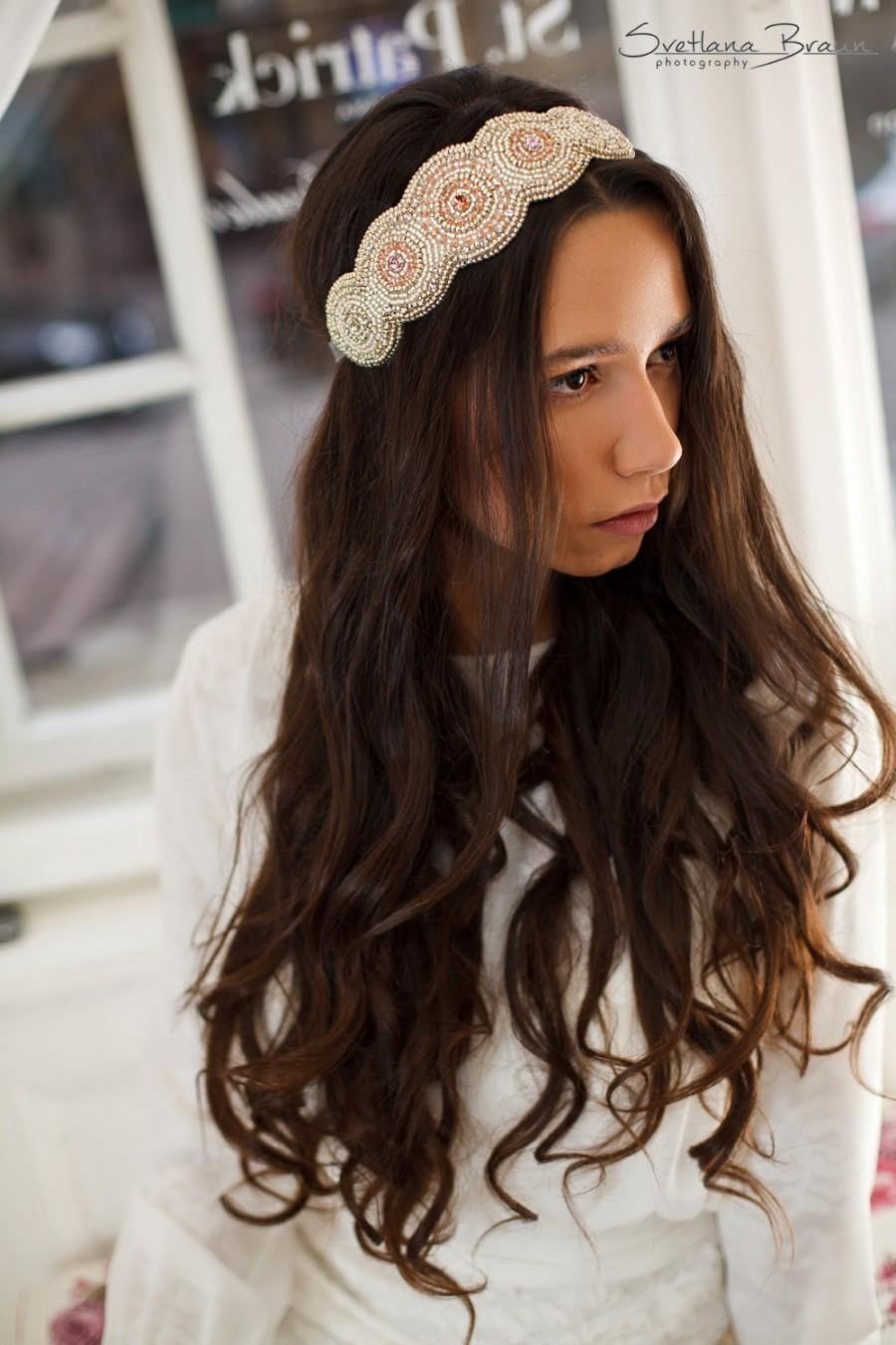 Свадьба - Bridal forehead band,Bridal crystal head band,Crystal wedding headband, Wedding statement headpiece,Glamorous wedding couture hair piece