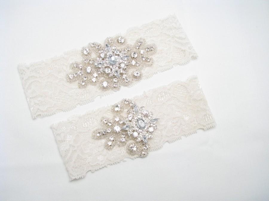 Hochzeit - Ivory or White Stretch Lace Garter Set, Something Blue, Crystal Rhinestone Bridal Garter, Wedding Keepsake and Toss Heirloom Garters