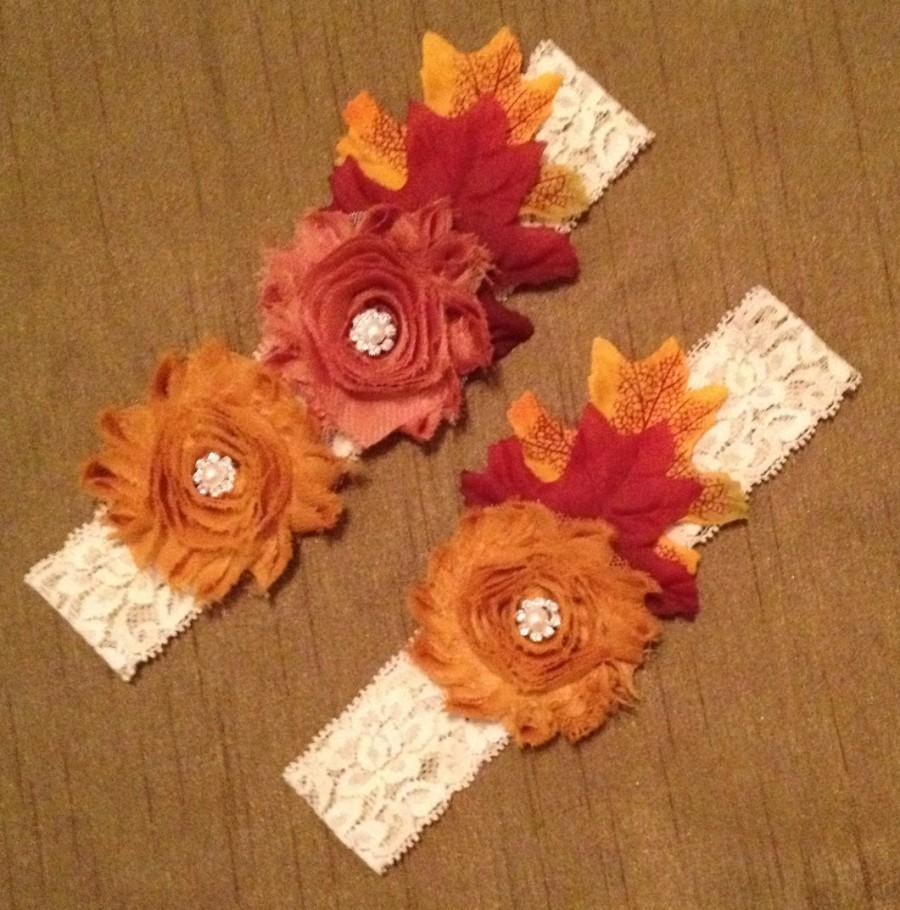 Mariage - Wedding Garter, Fall Wedding Garter Belt, Rustic Garter Set, Autumn Burnt, Orange, Yellow Frayed Flowers and Fall Leaves Bridal Toss Garter