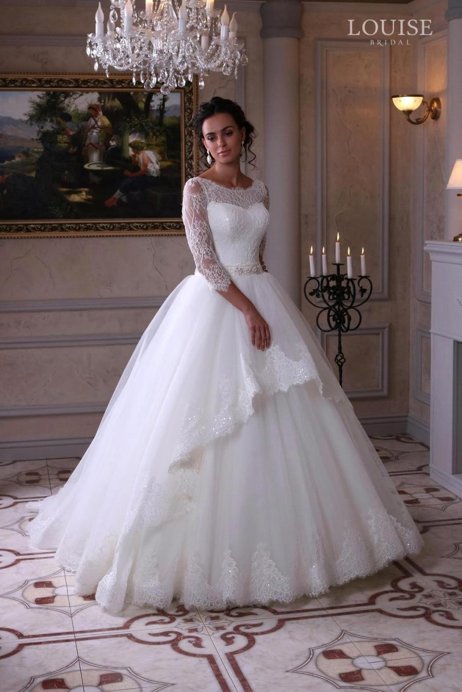 Vestido de noiva 2016 new 3 4 sleeve a line wedding 3 4 sleeve wedding dress a line