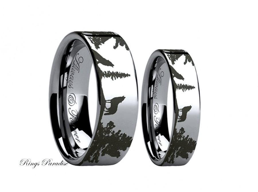 wolf ring couples wedding ring wedding band sets tungsten band tungsten rings his and hers promise rings wolf band wolf jewelry - Couples Wedding Rings