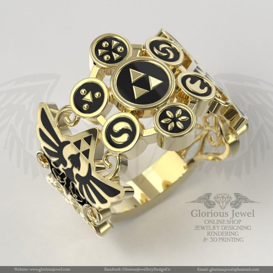 Wedding - Glorious Zelda inspired ring with Enamel / 925 silver / 14K Gold / Custom made / FREE SHIPPING / Made to Order