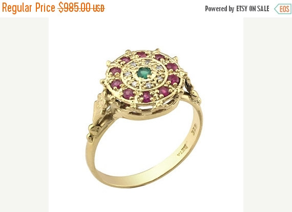 ON SALE Emerald Engagement Ring 14K Solid Gold Ring Art