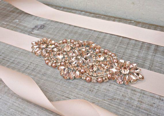Rose Gold Bridal Sash Belt Rhinestone Peach Wedding Dress Great Gatsby