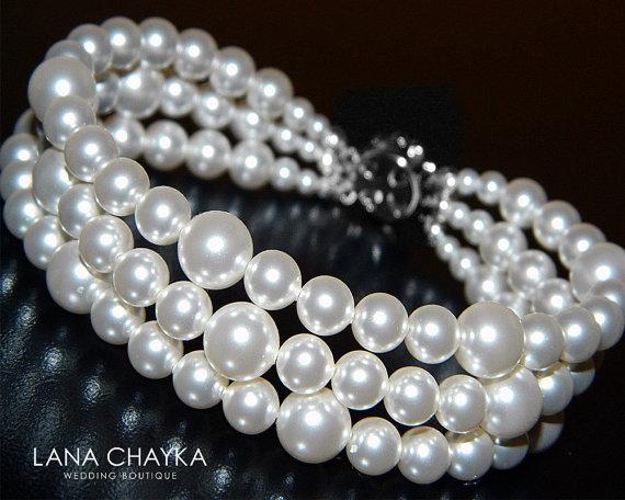 Mariage - White Pearl Cuff Bracelet Bridal White Pearl Bracelet Swarovski Pearl Bracelet Wedding Three Row Pearl Bracelet Bridal White Pearl Jewelry