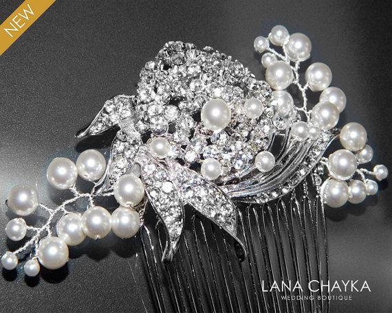 Wedding - Crystal Pearl Wedding Hair Comb Bridal Hair Comb Swarovski White Pearl Rhinestone Hair Jewelry Wedding Headpiece Bridal Pearl Crystal Comb