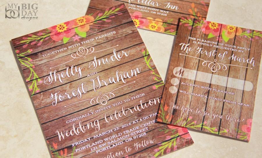 Wedding - NEW! Rustic Watercolor and Wood Wedding Invitation Set. Floral wood wedding invitations