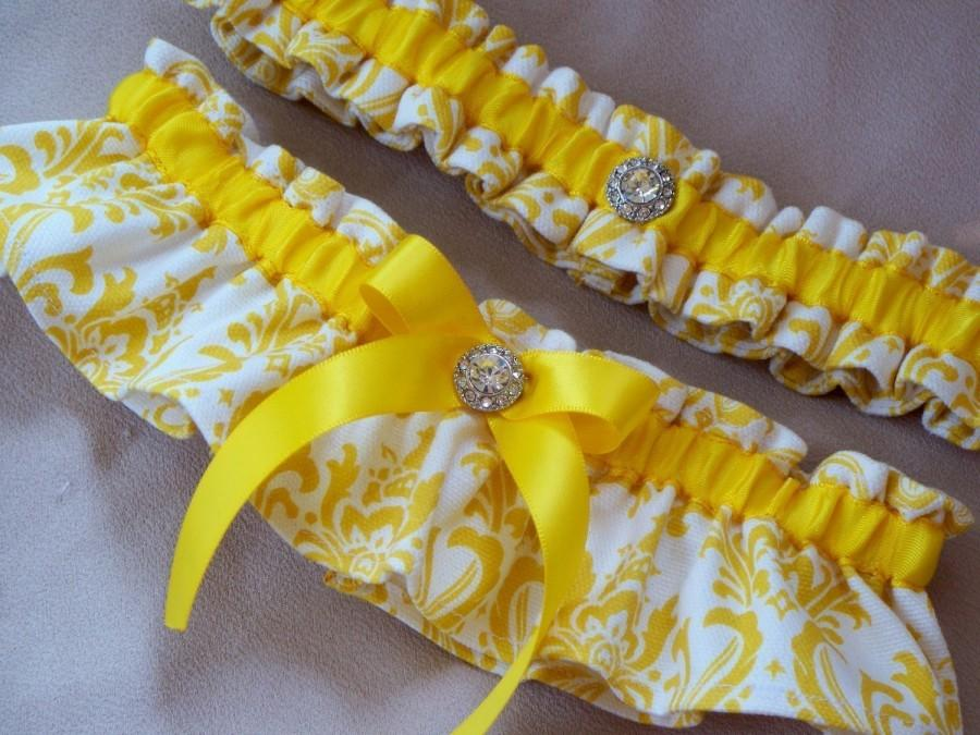 Mariage - Yellow Wedding Garter Sunshine Yellow White Damask Rhinestone Garter Set