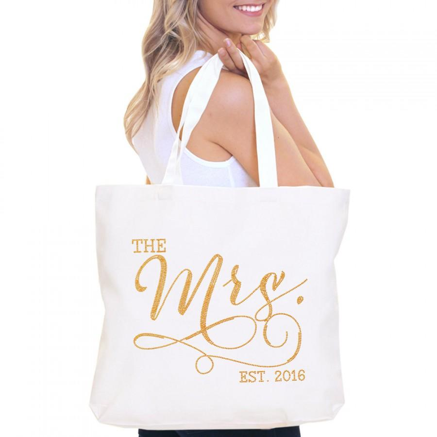 Bride Bag The Mrs Tote Jumbo S Bridal Shower Gift Bachelorette Party Engagement Carryall Gold