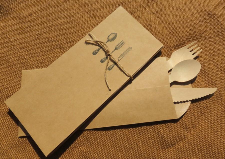 Kraft Silverware Envelope Flatware Sack Cutlery Bag Pouch