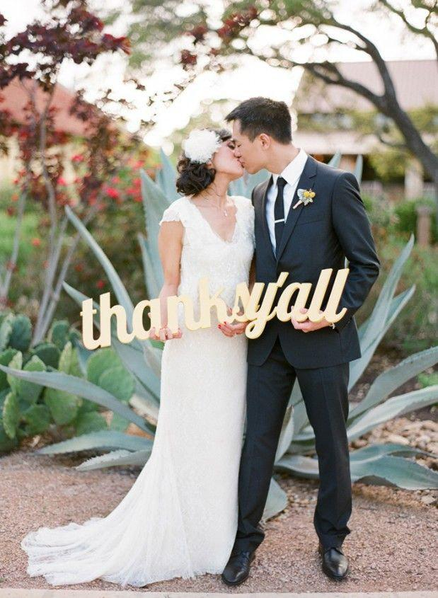 Mariage - Wedding Sign Thanks Y'all Sign for Photography - Southern Wedding Thank You Sign - Thank You Card Prop (Item - TYL200)