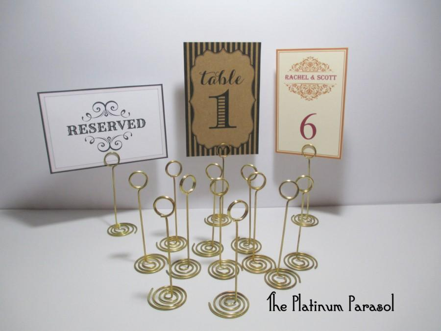 "Wedding - ANTIQUE GOLD Ring Style Table Number Stand, Card Holder. Wedding Table Stands - Sign Stand, Card Holder,  4.5"" tall.  Choose your quantity."