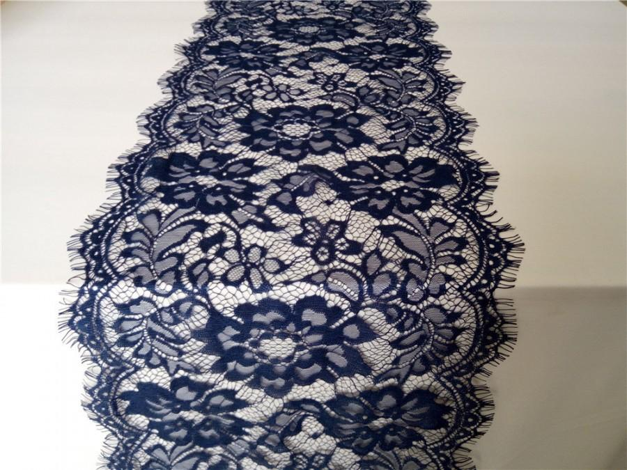 7ft Navy Blue Lace Runner 10 Wide Lace Table Runner