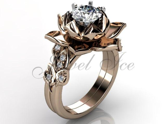 Свадьба - Lotus Flower Engagement Set - 14k rose gold diamond unique lotus flower engagement ring, wedding ring, flower engagement set  ER-1085-3