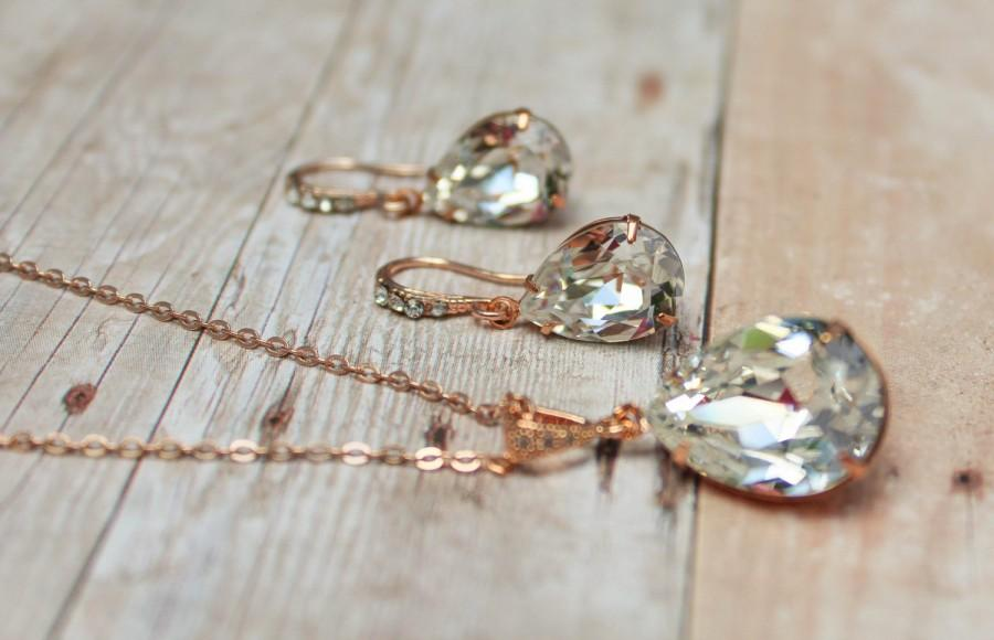 Свадьба - Rose Gold Earrings Rose Gold Bridal Jewelry Bridesmaid Jewelry Rose Gold Necklace Vintage Bridal Jewelry Rose Gold Necklace and Earring