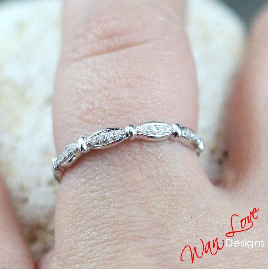 Diamond Wedding Band Ring Half Eternity Stackable 14k 18k White