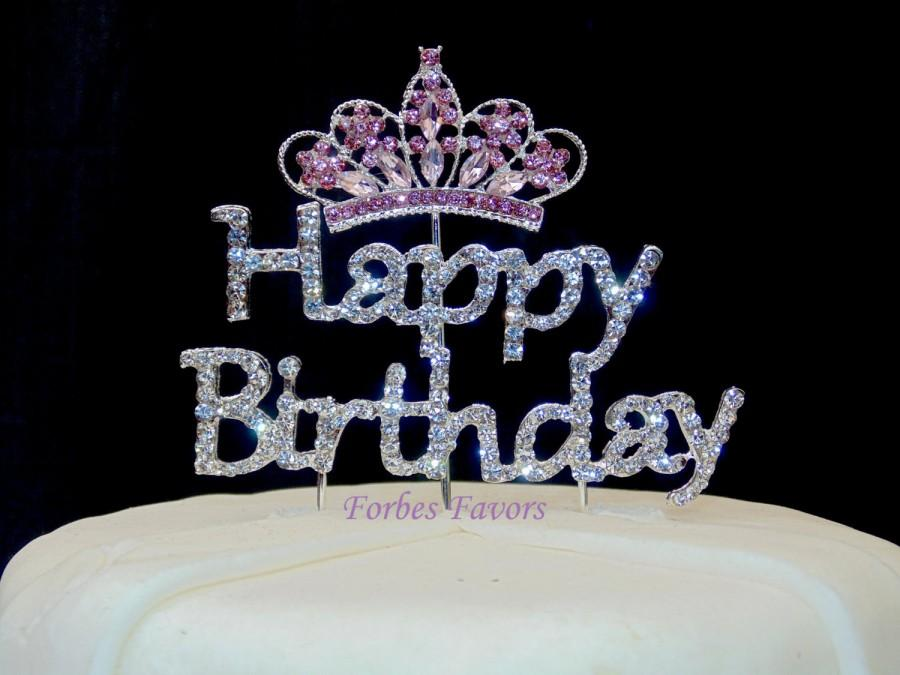 Silver Rhinestone Happy Birthday With Pink Princess Crown Cake Topper Set Of 2