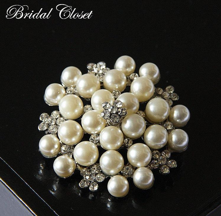 bridal brooch swarovski crystal flower brooch pearl