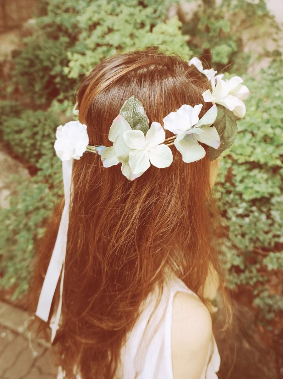 Fairy of woods hydrangea flower crown wedding flower crown veil fairy of woods hydrangea flower crown wedding flower crown veil hair accessories bridal floral crown vintage izmirmasajfo