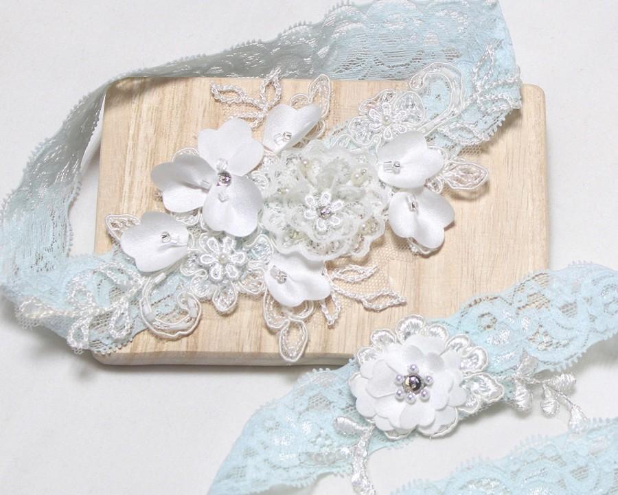 Свадьба - Lace blue garter set, wedding garter set, bridal garter set, satin garter set, blue lace garter, blossom  garter set