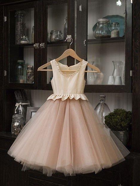 Mariage - Nude Flower Girl Dress