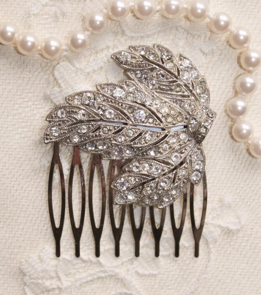Свадьба - LASTE OnE,Vintage Art Deco Fur Clip Hair Comb,TRUE Vintage Signed Dress Clip,Gatsby,Bridal Hair Comb,Leaf,Leaves,Silver & Paste Rhinestone
