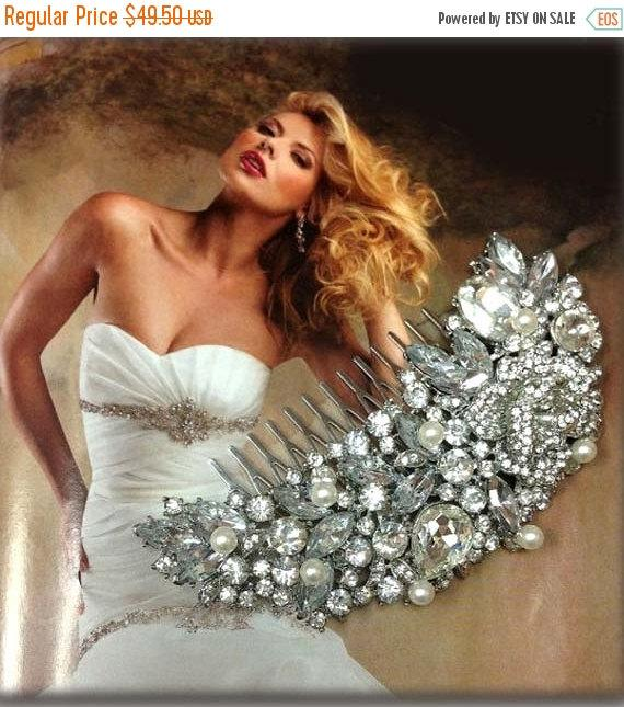 Mariage - Wedding hair accessory, Bridal hair comb, bridal hair accessory, Bridal crystal comb, Rhinestone comb, wedding pearl Comb,ballroom headpiece