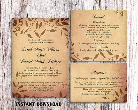 Hochzeit - DIY Rustic Wedding Invitation Template Set Editable Word File Download Printable Invitation Brown Wedding Invitation Leaf Wedding Invitation