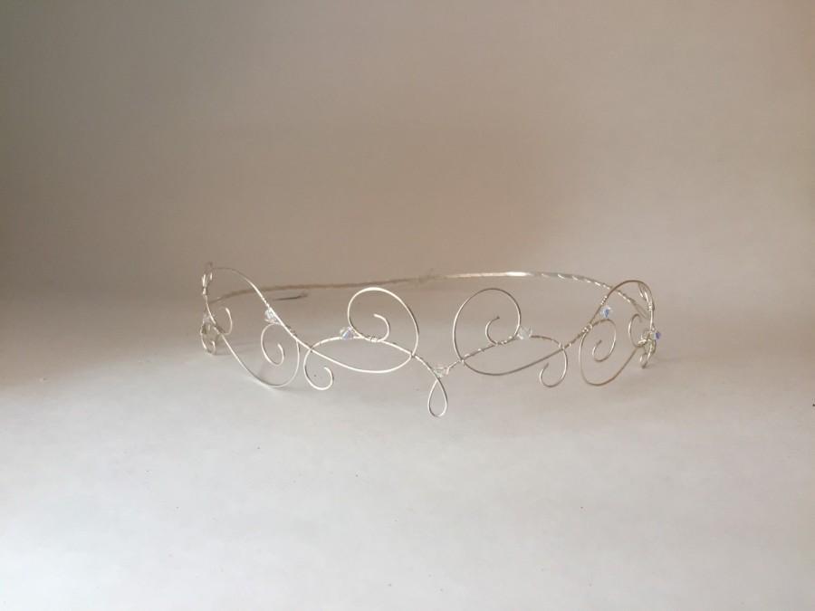 "Mariage - Silver Elfin Tiara, Wire Elfin Crown, Forehead Crown, Regal, Rennaissance Crown. Fairy crown, princess crown, circlet crown ""Cleo 3"""