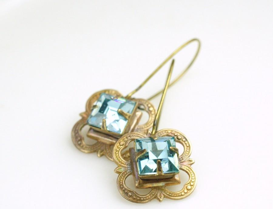Mariage - Aqua blue jewel earrings bridal vintage brass victorian crystal glass