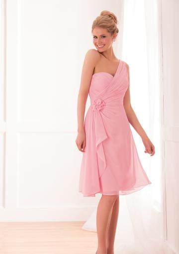 Mariage - Zipper Up One Shoulder Chiffon Pink Sleeveless Knee Length