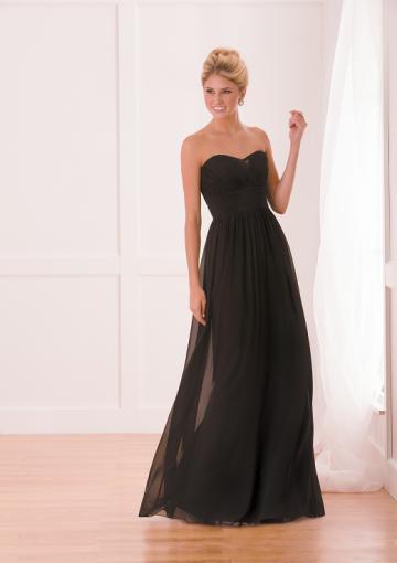 Wedding - Black Zipper Up Sweetheart Chiffon Sleeveless Floor Length