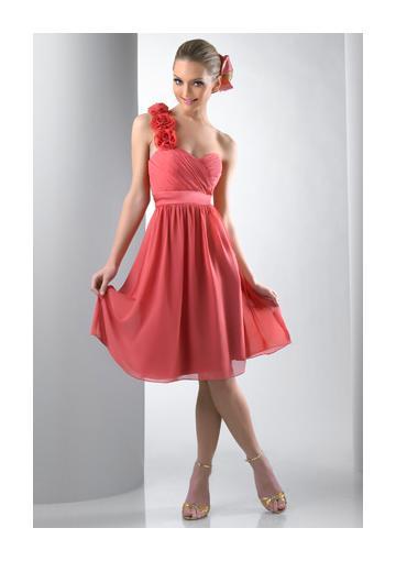 Mariage - Zipper Up Flowers One Shoulder Chiffon Sleeveless Knee Length