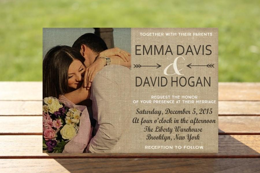 Photo Wedding Invitation: Photo Wedding Invitations, Burlap Wedding Invitations