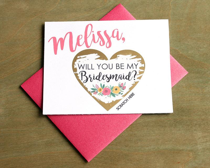 Hochzeit - SET OF 4+ Scratch-Off Will you be my Bridesmaid Cards - Maid of Honor, Matron of Honor, Bridesmaid Ask Card with Metallic Envelope